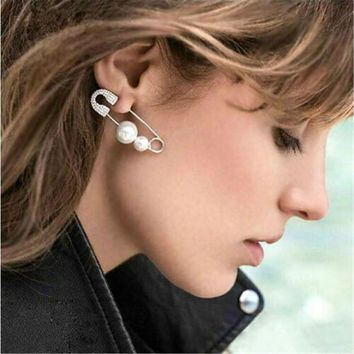 One Piece Silver Rhinestone Safety Pin with White Pearl Beads Earring