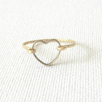 14 K Gold Filled Open Heart Ring
