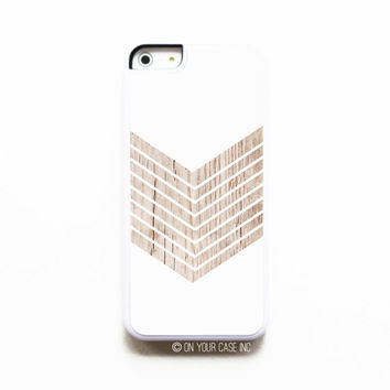 White Geometric Minimalist with Wood Grain - iPhone 5C Case - iPhone Case Cover - iPhone Case