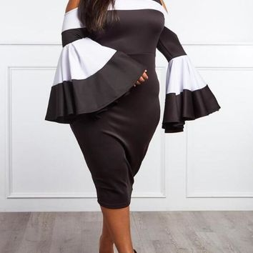 New Black-White Patchwork Cut Out Flare Sleeve Plus Size Prom Evening Party Midi Dress