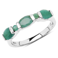 1.45 Carat Genuine Emerald .925 Sterling Silver Ring