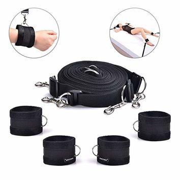 Under Bed Restraint System,Bondageromance Kit with Ankle Cuffs Hand Cuffs Soft And Comfortable for Couples Bedroom Adventure - Adjustable Straps Fit Almost Any Size Mattress, Advanced Nylon Black
