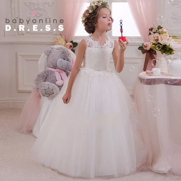 Cheap White Lace Beach Flower Girl Dresses 2016 Glitz Pageant Dresses For Little Girls First Communion Dresses For Girls