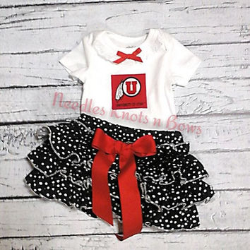 Girls Utah Utes Football Cheerleader Outfit, Girls Utah Utes Baby Shower Gift, Baby Girls Utes Coming Home Outfit