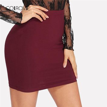 COLROVIE Elastic Waist Solid Skirt 2018 New Arrival Mid Waist Short Elegant Woman Bodycon Burgundy Summer Stretchy Skirt