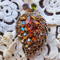 Weiss Amber and Topaz Rhinestone Brooch / Candied Fruit / Vintage