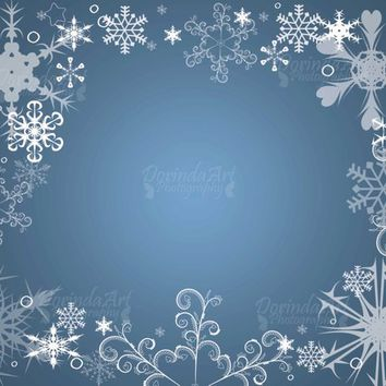 Snowflake frame Blue white Frozen print Snowflake overlay Snowflake Background Christmas background and overlay Christmas card DOWNLOAD