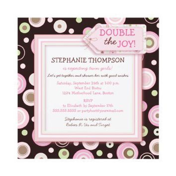 Happy Pink Dots Twin Girl Baby Shower Invitation from Zazzle.com