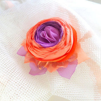 Brooch Accessories Orange and lilac Brooch flower Clip for hair Flower accessories Wedding Orange Ranunkulyus Orange flower Orange wedding .