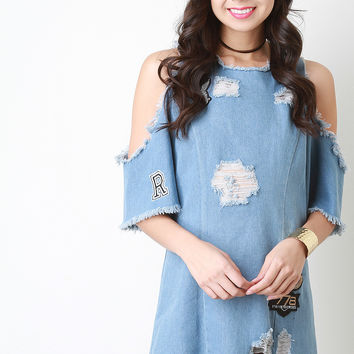 Distressed Denim Patch Shift Dress