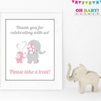 Thank you for Celebrating With Us Elephant Baby Shower Sign Pink Gray Printable Girl Download Baby Decor Baby Shower Table Sign EL0005-lp