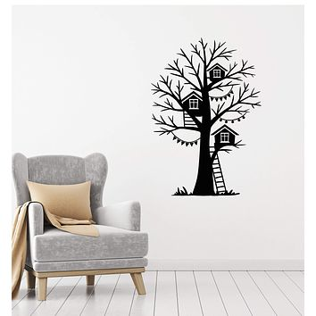 Vinyl Decal Wall Sticker Birdhouse Tree Stairs Decor for Kids Nursery Unique Gift (g125)