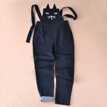 2017 Spring Cotton Black Cat Face Embroidery Women Rompers Fashion Slim Solid Harem overalls Jumpsuit For Women Rompers Womens