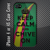 Keep Calm Chive On Custom iPhone 4 or 4S Case Cover