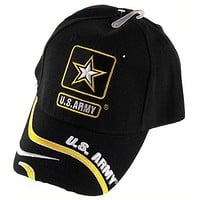 US Army Baseball Cap Hat Embroidered Black Gold White Star Licensed Product Pin