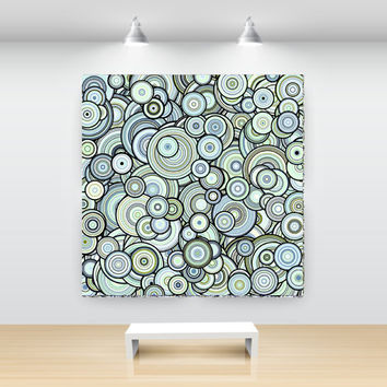 Green Blue Particle Circles Abstract Art, open edition print, large sizes, by San Francisco artist Kristin Henry