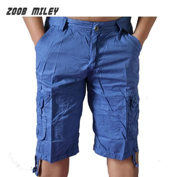 Summer Military Baggy Cargo Shorts Men Big Size Loose Fit Casual Short Pants Cotton Knee Length Joggers Fashion Beach Trousers