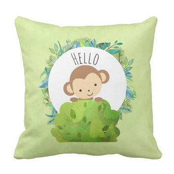 Cute Monkey Peeking Out from Behind a Bush Hello Throw Pillow