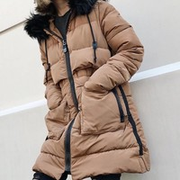 2018 New Women Winter Thick Long Warm Parka with Faux Fur Collar Ladies Hooded Large Pocket Jackets Overcoat Cotton Padded Parka