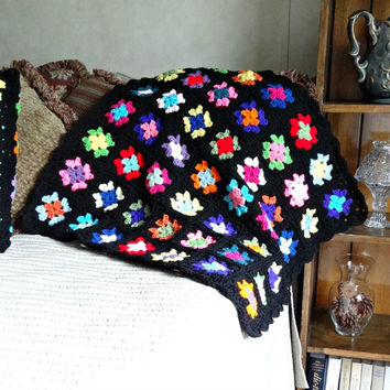 Crochet Baby Blanket, Small Granny Square Afghan, Multi Color Retro Style Nursery Decor