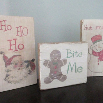Wooden Christmas signs -Primitive Christmas signs-Snowman sign-Santa sign-Gingerbread man sign-Rustic Christmas signs-Wood block signs
