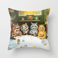 Kitty Happy Hour - Louis Wain's Cats Throw Pillow by digitaleffects