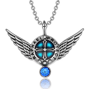 Archangel Raphael Angel Wings Protection Shield Magic Powers Royal Blue Crystal Pendant 22 inch Necklace