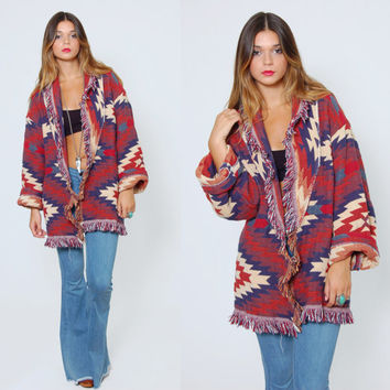 Vintage 80s SOUTHWESTERN Tribal Jacket Indian WOVEN Cotton FRINGE Jacket Boho Cardigan
