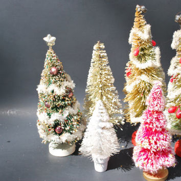 Christmas Bottle Brush Trees  with Wreath  Red Pine Cones and Glass Ornaments