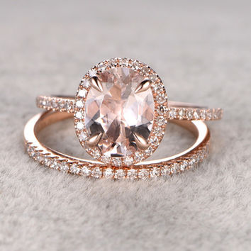 1.85 Carat Oval Morganite Wedding Set Diamond Bridal Ring 14k Rose Gold Halo Thin Stacking Matching Band