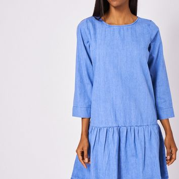 Dropped Waist Denim Dress in Washed Blue