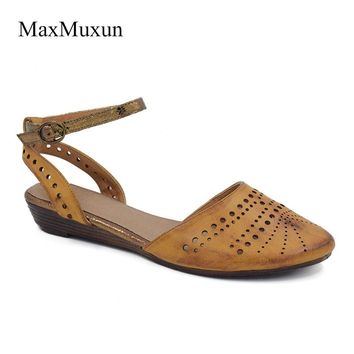 MaxMuxun Womens Closed Toe Flat Sandals 2018 Summer Fashion Cut Out Cage Strappy Slingback Gladiator Sandals Casual Dress Girl