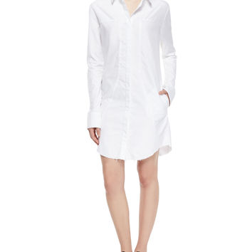 Genevieve Long-Sleeve Shirtdress, White, Size: