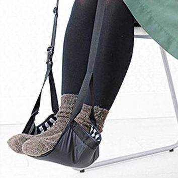 ac NOOW2 Fashion Portable Cotton Knitted Footrest Flight Carry-on Foot Hammock  Rest
