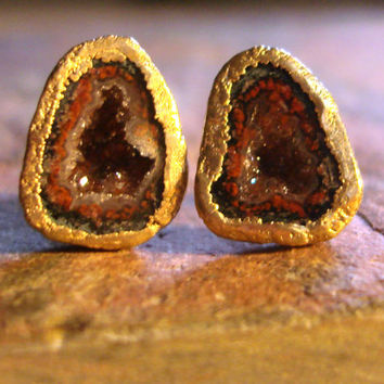 FREE SHIPPING One of A Kind Gold Geode Studs - Gold dipped Tabasco geode druzy earrings - Recycled OOAK