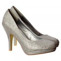 Onlineshoe Sparkly Gold Shimmer Glitter - Low Heel Platform Court Shoe - Gold Mesh, Silver Mesh - Onlineshoe from Onlineshoe UK