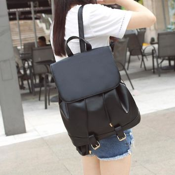 Casual School Bag Leather Style Large Capacity Vintage Travel Bag Backpack