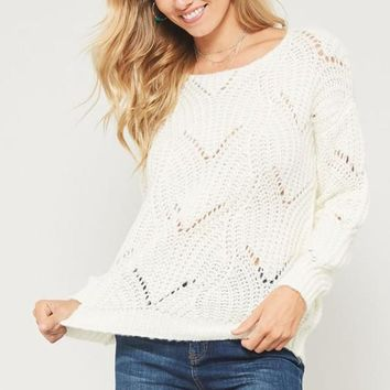 Cream Solid Knit Sweater