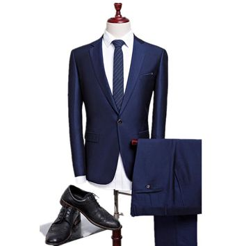 new autumn wedding navy blue suits blazer men's navy blue business suits