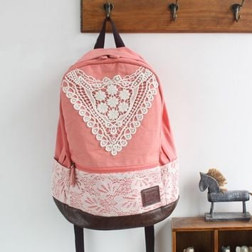 Cute Canvas Lace Backpacks for Women