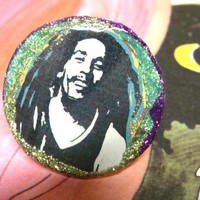 BOB MARLEY Glitter Resin Ring, Psyc.. on Luulla