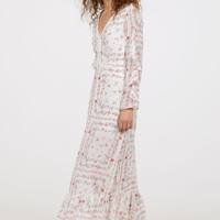 Long V-neck dress - White/Floral - Ladies | H&M GB