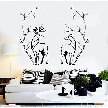 Vinyl Wall Decal Deers Couple Animals Tree Branches Room Decor Stickers Unique Gift (098ig)