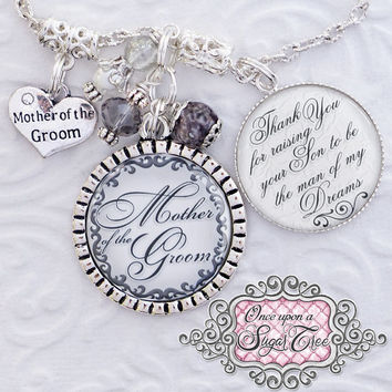 PERSONALIZED Mother of the GROOM Gift WEDDING Necklace Inspirational Quote You raised with love this amazing Man, Custom Wedding Gift Heart