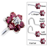 Solid 14KT White Gold Red and Clear Cubic Zirconia Flower Nose Ring | Body Candy Body Jewelry