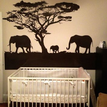 Vinyl Wall Decal Sticker Safari Theme Elephant Family #OS_AA104