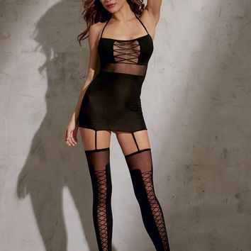 High Waisted Garter Dress