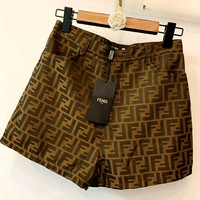 Fendi 2019 new double F letter jacquard high waist shorts