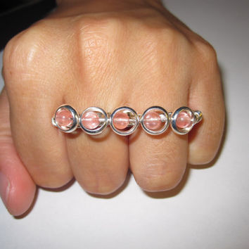 Two Finger Ring Pink Glass Beads Silver Plated by aLilJazzJewelry