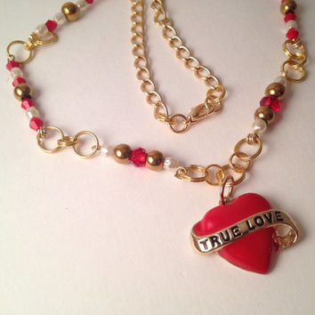 True love heart charm gold and red necklace